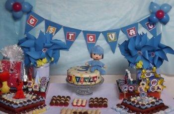 Festa de aniversário do pocoyo-MESA DE DECORAÇÃO 2